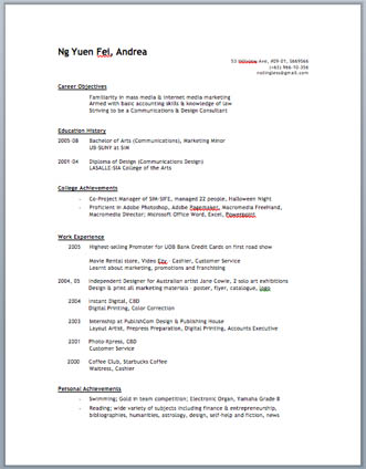 resume first version