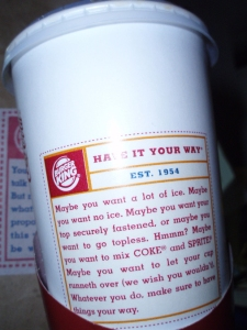 Burger King drink cup advertising